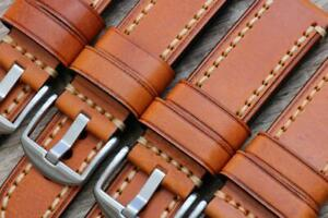 Watch Strap Genuine Cowhide Leather Tawny Amber Thick Durable Stitching 20-26mm