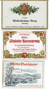 3  Weinetiketten 1937er Winkeler Hasensprung 1944er Rüdesheimer Mittelheimer