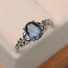 Elegant Women 925 Silver Jewelry Oval Cut Blue Sapphire Wedding Ring Size 6-10