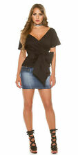 Womens Black Wrap Blouse with Bow Tie Waist and Short Sleeves UK 8 EU 36 S