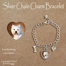 West Highland White Terrier Westie - Charm Bracelet Silver Chain & Heart