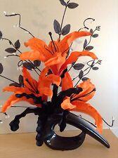 Artificial Silk Flower Arrangement Orange & Black Lilies Small Modern Shape Vase