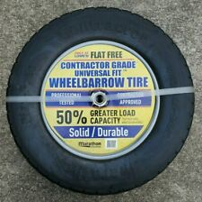 Marathon 4.80/4.00-8 Nhs Flat Free Wheelbarrow Tire on Wheel Universal Fit