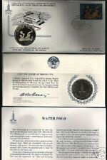 RUSSIA 1980 MOSCOW OLYMPIC WATER POLO SILVER COIN MONEY + 10 & 5 RUBLE FDC STAMP