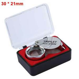 10/20/30X*21MM Inch Metal Jewelry Magnifying Glass Jewelry Loupe Magnifier New
