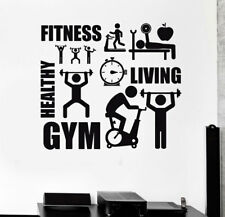 Fitness Sports Logo Wall Sticker Healthy Art Mural Decal Home Gym Office Decor