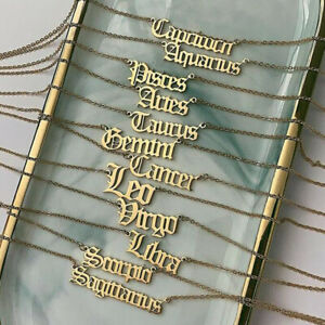 Ladies Gold 12 Horoscope Astrology Zodiac Letter Birth Sign Chain Necklace Gift