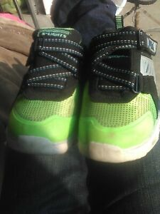 Neon Green And Black Boys S-lights Sketchers Size 10