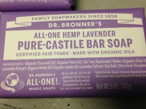 3x Dr. Bronners Pure Castile Bar Soap Hemp Lavender Bars!
