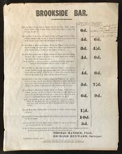 Derbyshire 1862 Original Brookside Bar Road Toll Charges Poster - Chesterfield