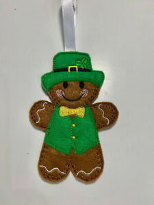 St Patricks Day Handmade Leprechaun Birthday Hanging Decoration Gingerbread Man