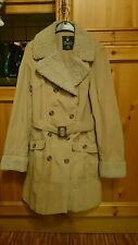 Ladies beige trench coat with faux fur collar and cuffs size 10