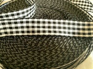 """Vintage Check Ribbon 5/8"""" Black & White No Wire 1yd Made in France"""