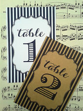 "4x6"" Striped vintage wedding table number cards"