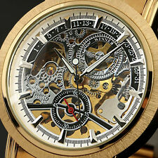 Winner Automatic Stainless Steel Case & Strap Skeleton Mechanical Watch Golden