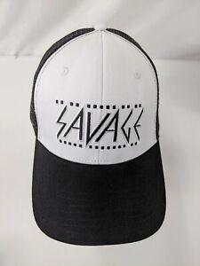 Savage Snap Back Baseball Hat Logo Black White One Size 166