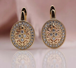 18K ROSE GOLD FILLED OVAL HOOP EARRINGS MADE WITH SWAROVSKI CRYSTALS GIFT GF42