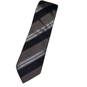 Giorgio Armani new with tags tie striped $120 NWT Black Gray Brown