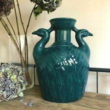 Art Deco Petrol Blue Bud Vase Teal Ceramic Peacock Bottle Decorative Ornament