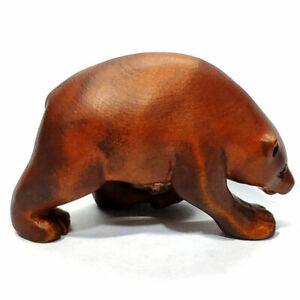 "SALE - M7289- 2"" Hand Carved Boxwood Netsuke Figurine Carving : Bear Walking"