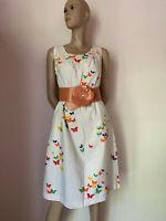 50er Kleid Tageskleid weiß rot orange blau Schmetterlinge Bw Rockabilly 38 40