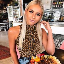UK Sexy Ladies Leopard Print Bodysuit Womens Sleeveless Slim Fit Leotard Top New