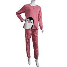 Pijama Mujer Pinguino Peluche Rosa Pink Otoño Animales Invierno Flanelado Polar