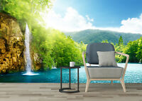 3D Self-adhesive Bedroom Murals Photo Waterfall Spring Forest Wallpaper Painting