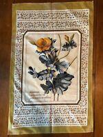 Vintage Made in Britain Cotton Tea Towel Floral Specimen Chelidonium