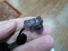(an-frog-4) Frog Purple Amethyst carving Pendant Necklace Figurine gemstone
