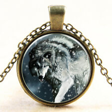 New Lone Wolf Hunting Dog Animal Cabochon Necklace Pendant White Snow Gift Bag