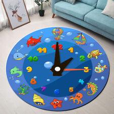 Round Floor Mat Living Room Area Rugs Sea Animals Funny Cartoon Clock for Kids