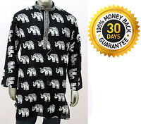 Men's 100% Cotton Elephant Print Tunic Kurta Shirt Plus Size Black White Color