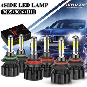 Combo 9005+9006+H11 Kit LED Chips Headlight White Fog Light High/Low Beam Bulb