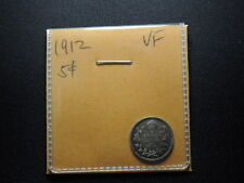 1912 5 Cent Coin Canada King George V Five Cents .925 Silver VF Condition