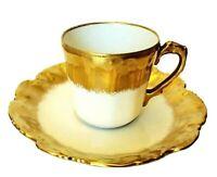 ANTIQUE LIMOGES FRANCE L.S. STRAUS HEAVY GOLD GILT DEMITASSE CUP & SAUCER 1890
