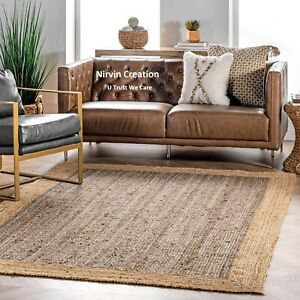 Rug Jute 100% Natural Jute Style Rug Braided Modern Rustic Look Reversible