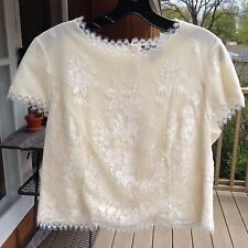 Rena Lange Creme Lacy Cap Sleeve Top/ Blouse