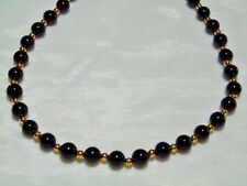 """STAUER BLACK ONYX STRAND/STRING NECKLACE 18+ 2"""" EXT GOLD/.925 SILVER  IMPERFECT"""