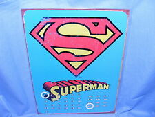 Metal Sign Magnetic Calendar Superman Logo Tin Sign Gift Present Garage sign