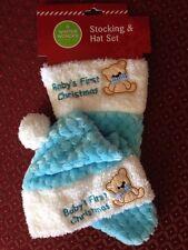 Christmas Baby'S First 1st Xmas Soft Blue 2 Pc Teddy Bear Hat & Stocking Set-Nwt