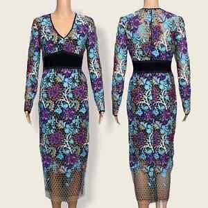 NEW Diane Von Furstenberg Canton Floral Midi Dress Size 6 Honeycomb Mesh Lace