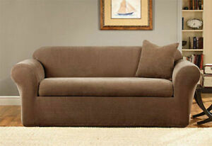 Sure Fit® Stretch Metro 2-Piece Sofa Slipcover in brown