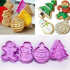 4Pcs Christmas Cookie Biscuit Plunger Cutter Mould Fondant Cake Mold Gadgets Set