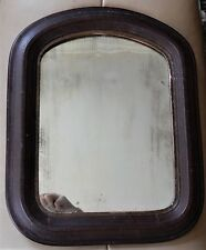 Antique AMERICAN Federal FARMHOUSE Primitive BROWN Wood Arched MIRROR c1840-50s