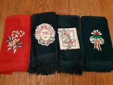 4 Vintage Christmas Fingertip Hand Dish Towels Red and Green Hand Towels