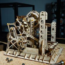 Robotime Wooden Roller Coaster Model Building Set Marble Run Game for Adult Boy
