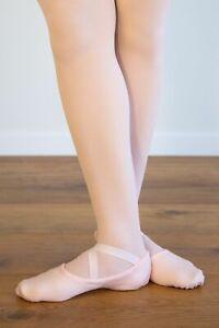 BALLET DANCE SHOES STRETCH CANVAS Ballet Pink Split Sole  - Sizes XS S M L XL