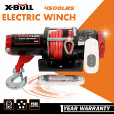 X-BULL Electric Winch 4500LBS 12V Synthetic Rope 4WD ATV UTV Winch Towing Truck