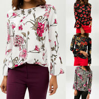 Womens Casual Floral Print O-Neck Flare Bell Sleeve Pullover Tops T-Shirt Blouse
